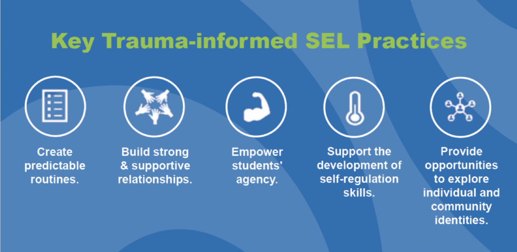 key trauma informed sel practices graphic